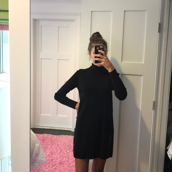 adbcbd73 Zara Dresses | Black Mock Neck Dress With Jewels | Poshmark